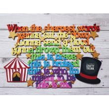 Hanging The Greatest Showman 'This is me' Song Lyrics with Circus Tent and Top Hat