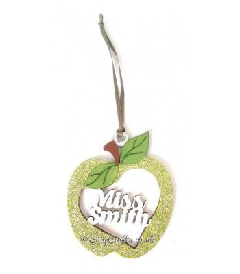 Teacher's Personalised Pocket Sized Apple Baubles