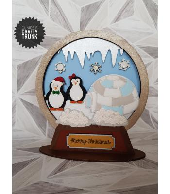 Penguin 3D Detailed Layered Snowglobe on a Stand - More Designs Available