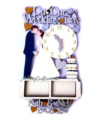 Hanging Personalised 'On Our Wedding Day' with clock and photo frames