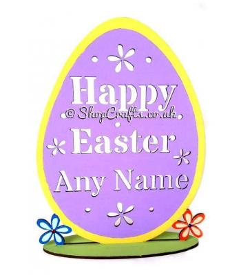Reusable and Personalised Stencil Cut Happy Easter Greeting on Stand
