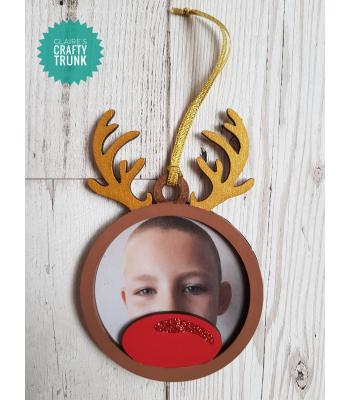 Reindeer Head Hanging Photo Frame Bauble - More Designs Available