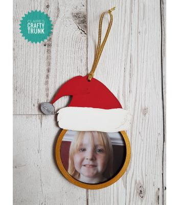 Santa Hat Hanging Photo Frame Bauble - More Designs Available