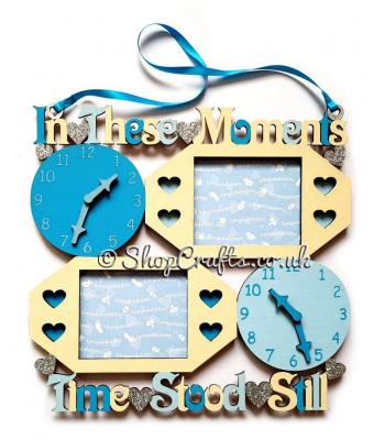 In these moments time stood still hanging sign with clock and stacked photo frames