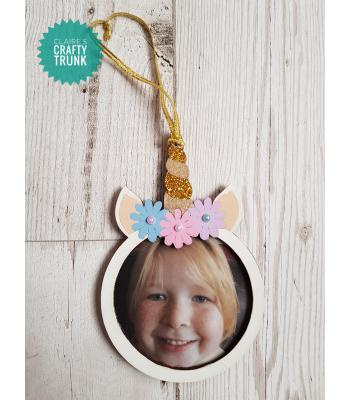 Unicorn Hanging Photo Frame Bauble - More Designs Available