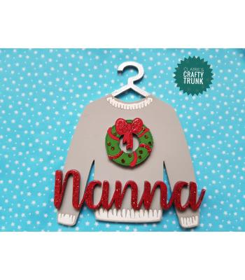 Christmas Wreath 3D Christmas Jumper Hanging Decoration - More Designs Available