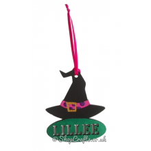Personalised Witch's Hat Halloween Tag and Reusable Decoration *More Designs Available