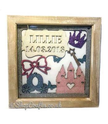 Personalised Box Frame Princess Birth Details Plaque