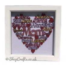 Female Family Name Heart Shaped Word Collage - Box Frame