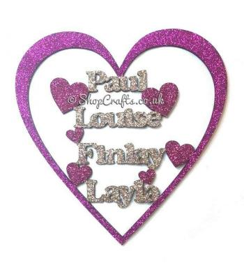 Personalised Family Heart Frame Name Sign