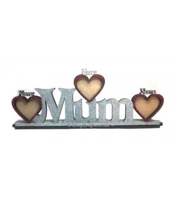 Personalised Family Name on stand with name photo frames hearts