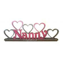 Family Name on stand with heart photo frames