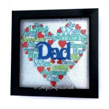 Male Family Name Word Heart Shape Collage - Box Frame