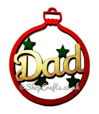 Family Name with stars Christmas Tree Bauble - Mum, Dad, Nan etc
