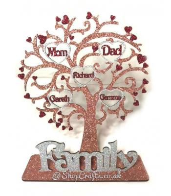 Personalised Family Tree with Heart Frames with Names on Stand
