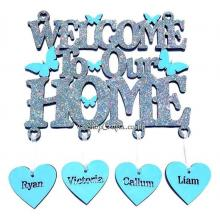 Personalised 'Welcome to our home' Sign with name hanging hearts - Butterfly Design