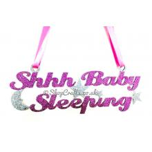 """""""Shhh Baby Sleeping"""" Hanging Sign with Moon and Stars"""