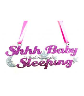 """Shhh Baby Sleeping"" Hanging Sign with Moon and Stars"