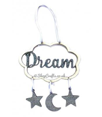 'Dream' Cloud Dream Catcher with Hanging Moon and Stars