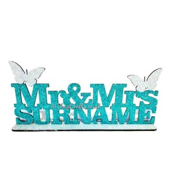 Personalised Mr & Mrs... Wedding Sign on stand - Butterfly Design