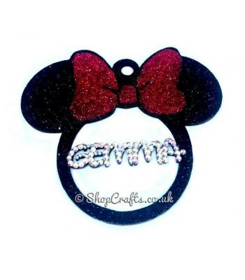 Personalised Mouse Head with bow Name Bauble