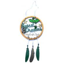 'Sweet Dreams' Dinosaur Dream Catcher with 3 Hanging Feathers