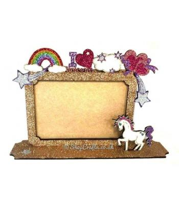 Unicorn theme photo frame on stand