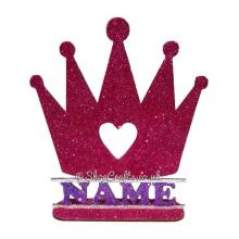 Personalised Princess Crown Shape on a Stand with Name
