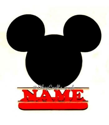 Personalised Mickey Mouse Head inspired Shape on a Stand with Name