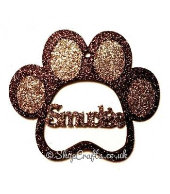Personalised Pet Paw Shape Name Bauble