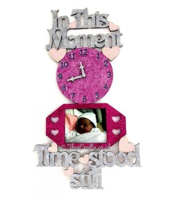 'In these moments time stood still' sign with clock and photo frames - Options Available