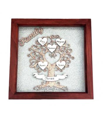 Personalised Family Names Tree -  Box Frame