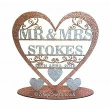 Personalised Mr & Mrs Heart with swirl detail on a stand