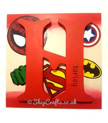 Super hero large letter wall plaque