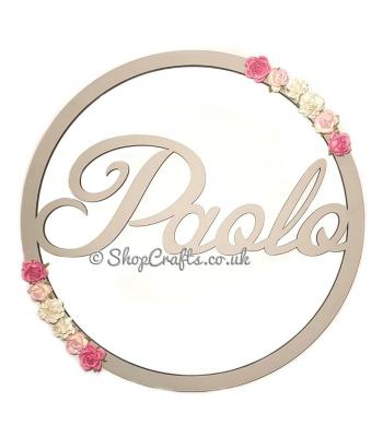 Personalised baby shower display with flowers