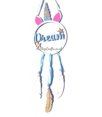 Unicorn 'Dream' Dreamcatcher with hanging feathers