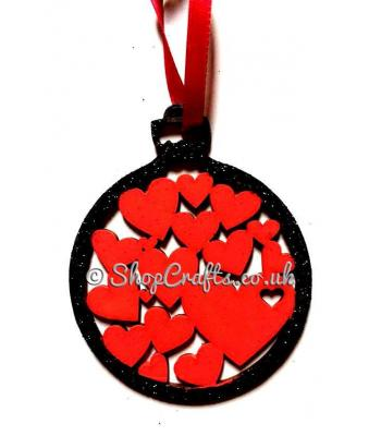 Love Hearts Christmas Tree Bauble
