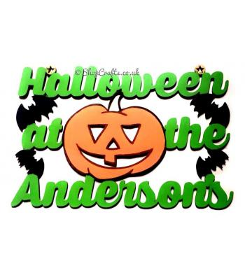 Halloween at the surname Pumpkin Hanging Sign
