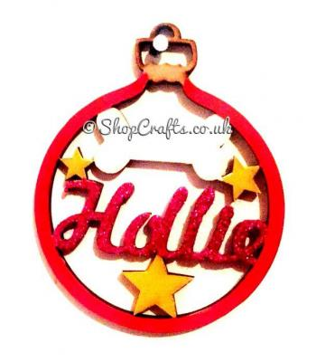 Dog Bone With Stars Pet Name Christmas Tree Bauble