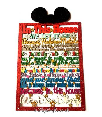 In this house...We do Disney Long Quote Hanging Plaque - Mouse Ears On Top