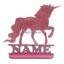 Personalised Childrens Unicorn Shape with Name on a stand