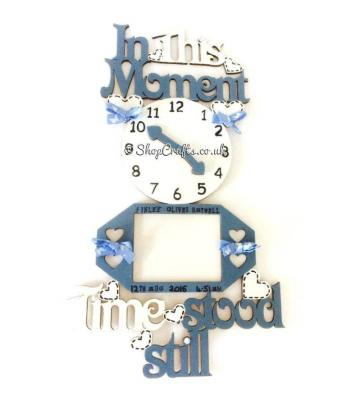 In these moments time stood still sign with clock and photo frames
