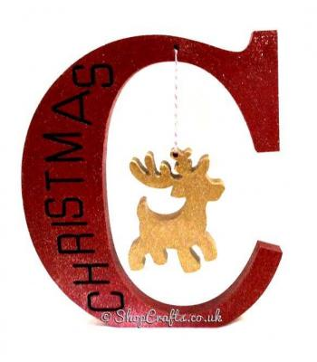 Freestanding 18mm thick Letter Christmas engraved C with hanging Reindeer