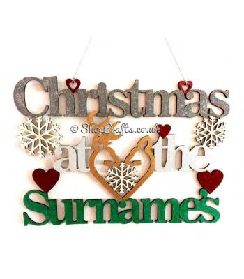 Christmas at the .........' Surnames ' personalised name hanging sign