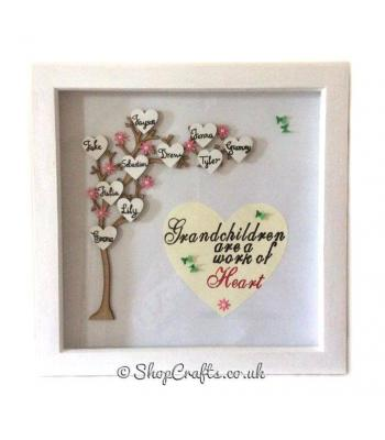 Personalised Deep Boxed Wooden Grandchildren Arched Family Tree Frame