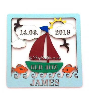Personalised Box Frame Birth Plaque - Sailing Theme