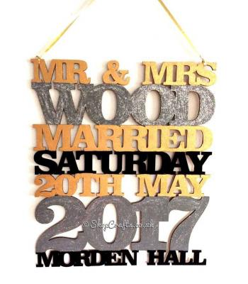 Personalised Large Wedding Details Hanging Sign