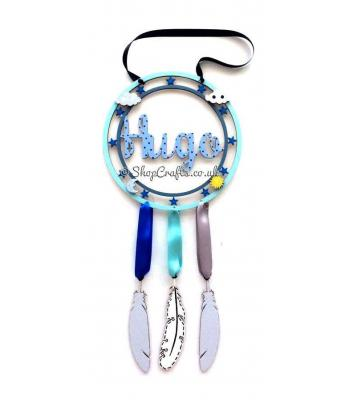 Personalised Name Star Frame Dream Catcher with Hanging Feathers