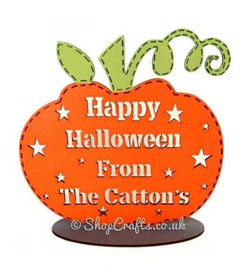 Personalised ' Happy Halloween from the.......' Surname Pumpkin on a stand