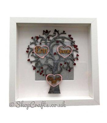 Personalised Deep Box Frame Tree with 2 Heart Frames inside and 1 Heart Frame with a date.